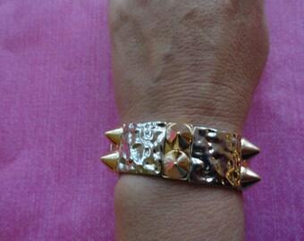 Spike hammered metal  bracelet