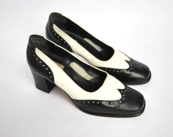Vintage black and white oxford pumps retro women high heel leather shoes office US 7.5 8.5 EU 38 39