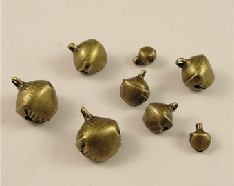 200 Christmas Bell Charms, 6mm 10mm 12mm 14mm Brass Tone Jingle Bells Pendants A3538