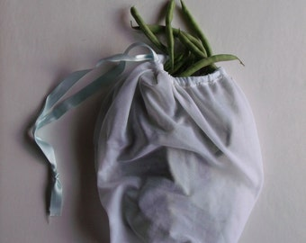 four small white produce bags  // made from repurposed tulle/nylon