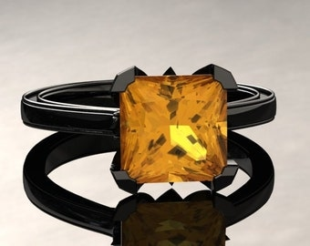 Yellow Sapphire Engagement Ring Princess Cut Yellow Sapphire Ring 14k or 18k Black Gold Matching Wedding Band Available SW17YSBK