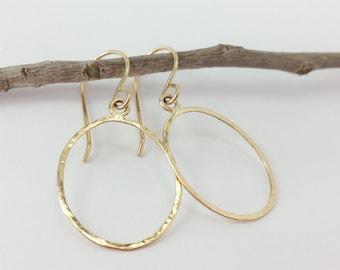 Gold Teardrop Earrings, Gold Hoops, Minimalist Earrings, Hoop Earrings, Drop Earrings Gold, Hammered Gold Jewelry, Gold Filled Earrings