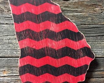 Distressed chevron Georgia Bulldogs wood wall art Dawgs red and black