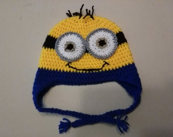Crocheted Minion Loyal worker Hat for boys & girls, Great for Halloween or dress up or to keep your ears warm!
