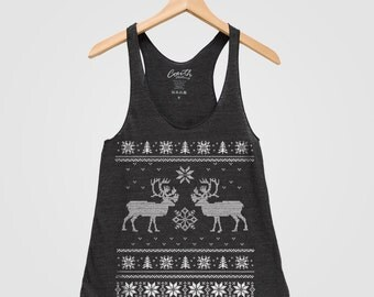 Ugly Sweater Christmas Women Tank Top American Apparel Triblend Racerback Tank Top Hand Screen Printed