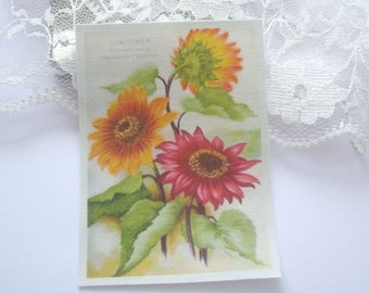 dollhouse tea towel sunflowers cotton 12th scale miniature