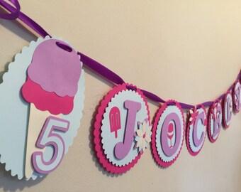 Ice cream party banner - 3D banner, custom banner, parties, showers, christenings, baptisms, celebrations