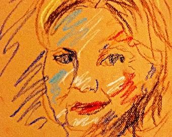 Original Pastel Sketch from Artisan - Hillary Clinton