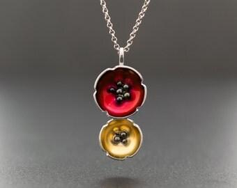 Enamel pendant, flower necklace, statement necklace, poppy necklace, sterling silver flower jewelry, hypoallergenic necklace, enamel jewelry