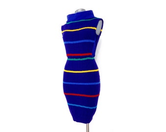 Royal blue sweater dress with multi-colored stripes