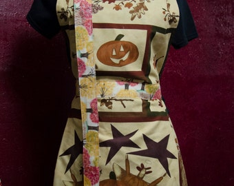 """Full Apron, Thanksgiving themed, """"Dead Turkey Angels"""", Autumn, Fall, Festive Sunday Apron BUY NOW to get before Thanksgiving"""