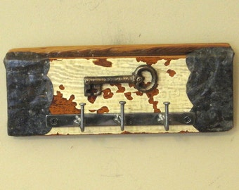 Wall Key Holder with Cast-Iron Skeleton Key Wall Hanging - Key Rack