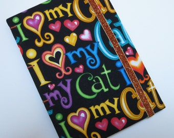 Handmade Journal - Love My Cat - Fabric - Lined Pages - Unique