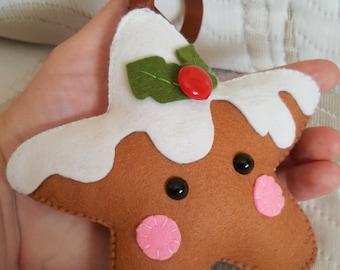 PDF Pattern - Sugar Cookie Star, Christmas Ornament Pattern, Felt Softie Sewing Pattern, Felt Ornament Pattern, Christmas cookie star