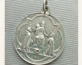 Antique Large Virgin Mary of the Rosary and St Dominic medal - Ave Maria Vintage Souvenir pendant from France
