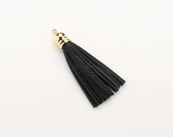 4011051 / Black / Genuine Leather Tassel (Medium) / 16k Gold Plated Brass Cap 10mm x 55mm / 2.9g / 33strands / 1pcs