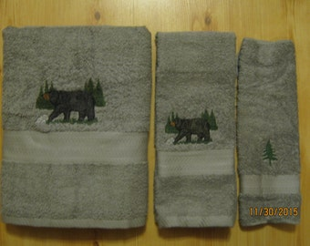 Black Bear & Tree's 3 Piece Towel Set