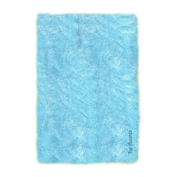 Sale Soft Faux Fur Area Rug Light Blue Shaggy By FurAccents