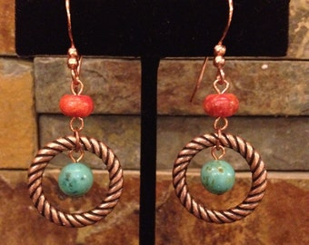Real Red Coral and Real Turquoise Blue Coppper Hoop Earrings