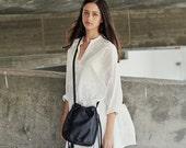 Black Nappa Leather Bucket Bag, Shoulder Leather Bag, Crossbody Purse, Gift For Her