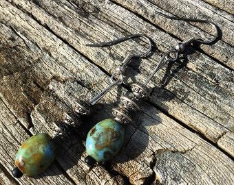 Green/Turquoise Ceramic Dangling Earrings