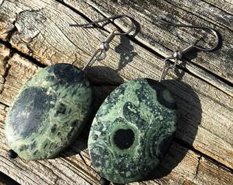 Green Stone Dangling Earrings