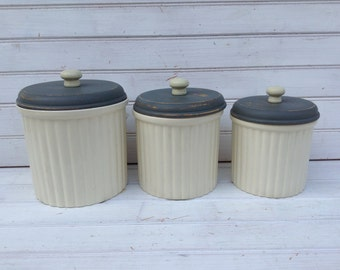 Ivory and Gray Kitchen Canister Set (CB066)
