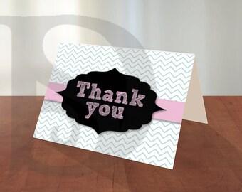 Printable Chevron Thank You Card