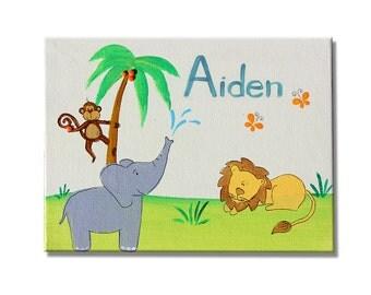 Nursery door sign, Personalized door sign, Baby boys nursery sign, Kids art, Boy wall art