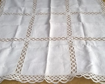 White French Crepe Tea Tablecloth Lace Inlay Cotton Handmade