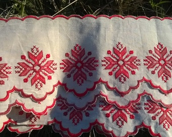 Victorian French Country Kitchen Café Curtain Shelf Edging Red Embroidered Off White Linen French Café Home Decor NOS #sophieladydeparis