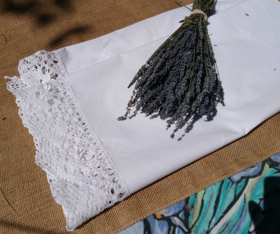 Long Victorian Cotton Runner White French Handmade Hand Crochet Lace Trim Curtain Sewing Project Curtain #sophieladydeparis