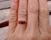 Red Garnet Crystal ring- made to order