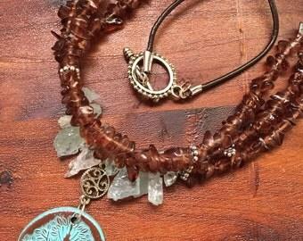 aquamarine + smoky quartz tree of life necklace + bracelet set