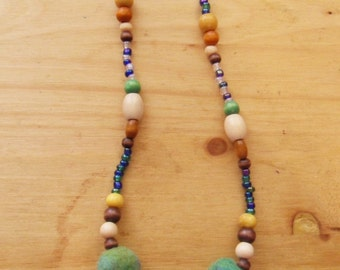 Felted Bead Necklace- Blues and Greens