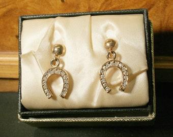Horseshoe Good Luck Earrings w/Sparkle/Sale was 15.00