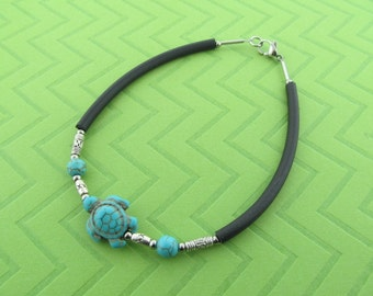 stainless steel, rubber & blue turtle howlite ankle bracelet anklet