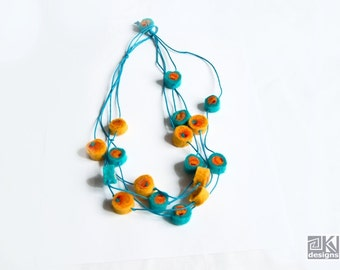 Multistrand necklace, Felted necklace, Turquoise and Yellow, Fun orange necklace, Wool Bead necklace, Long necklace, Felt balls necklace,