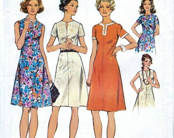 Simplicity 70s sewing pattern 6079, easy dress sewing patterns, short dress pattern, collarless dress, bust 41 inches