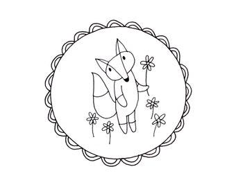 Fox Embroidery Pattern Printable Woodland Animal Digital Downloadable 0109