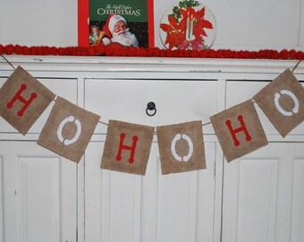 HO HO HO Christmas Holiday Burlap Banner/Bunting