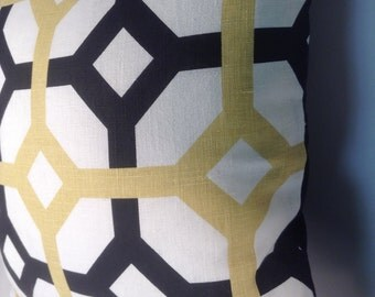 black and gold geometric print pillow cover