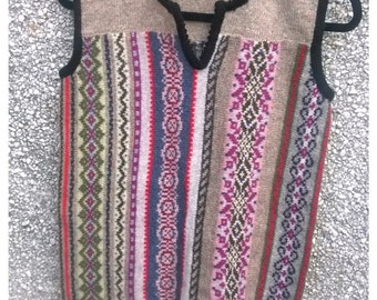 Knitted vest,Knitted sleeveless top,Fair isle vest made from pure soft Lambswool mix with Shetland wool,
