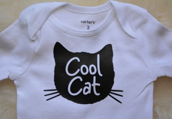 Cat baby bodysuit baby clothes cool cat baby hipster cute