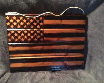 American Flag.  Hand burned from Reclaimed Materials