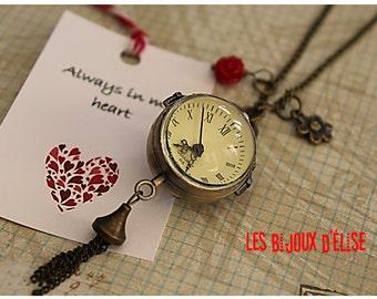 Romantic Glass Sphere Pocket Watch Necklace Antique Bronze