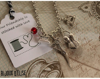 Seamstress and Modeliste Charms Pendant Necklace Antique Silver