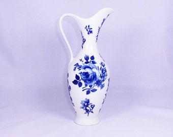 Vintage Porcelain Pitcher Vase with Blue Flowers