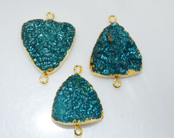 DRUSY- Pack of 3 -Amazing Teal blue triangle Druzy connector with Electroplated 24k Gold Edges,Teal blue triangle DRUZY , 20 mm