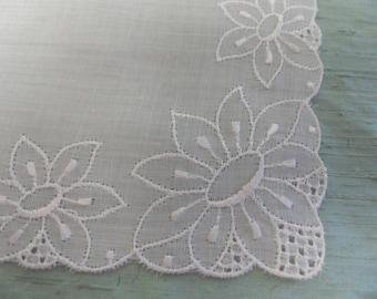 Embroidered white vintage handkerchief / hankie with four corner design / white on white
